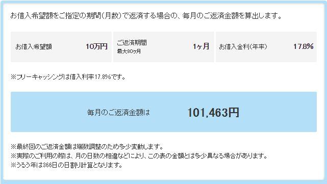プロミス-10万円-返済1ヶ月
